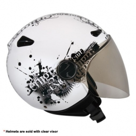 Zeus ZS-210B Helmet - White with Graphics