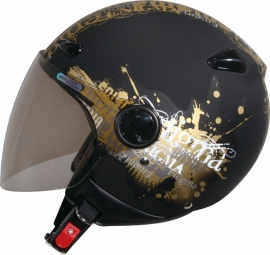 Zeus ZS-210B Helmet - Black With Gold Graphics